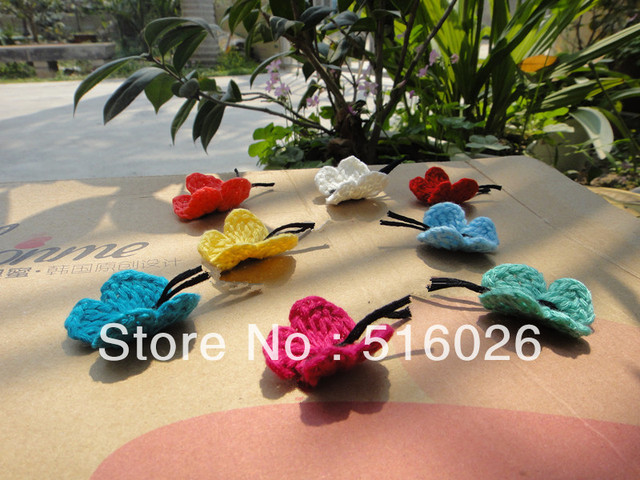 wholesale hand crochet cotton appliques butterfly headband flower scrapbooking sewing trim bow boutique DIY 100pcs/lot