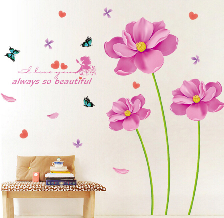 Purple Pollen Removable Wall Art Decal Sticker Diy Home: Easter Purple Flowers Large Wall Stickers Home Decor