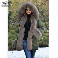 Tatyana Furclub Parka de piel Real con cuello de piel de zorro Natural chaqueta gruesa de abrigo de piel de talla grande para mujer invierno piel Parkas