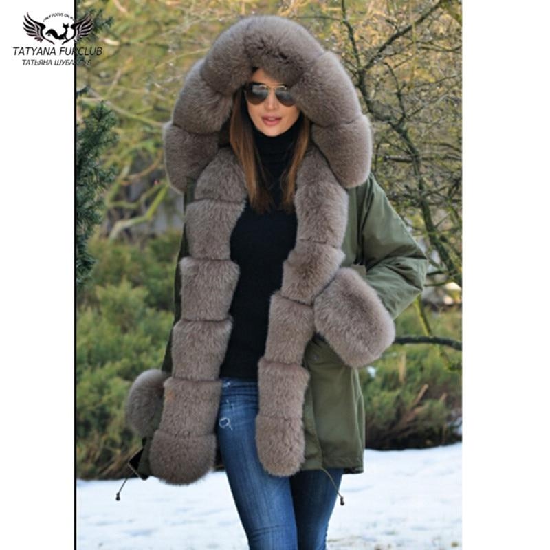 Tatyana Furclub Real Fur Parka With Natural Fox Fur Collar Thick Warm Jacket Full Pelt Plus Size Coat Women Winter Fur Parkas