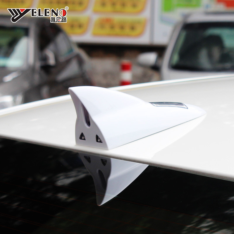 Aerials Auto Replacement Parts LED Car Solar Shark Fin Rear-end Anti-collision Antenna Remote Warning Light Decorative Universal
