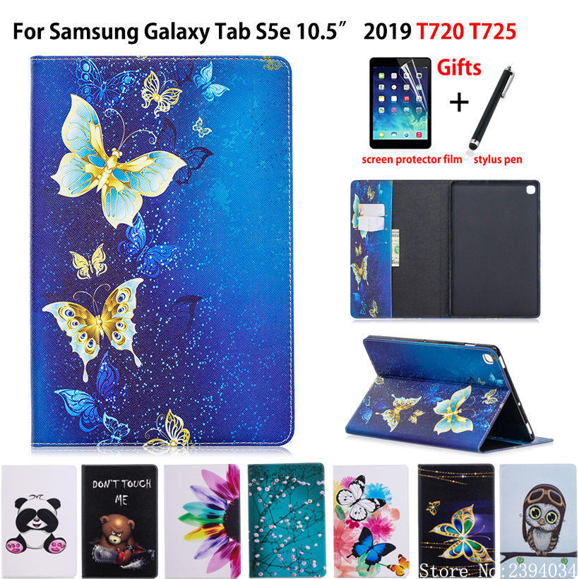 Case For Samsung Galaxy Tab S5e 10.5 2019 SM-T720 SM-T725 Cover Funda Tablet Fashion Painted Stand Shell +Film+Pen