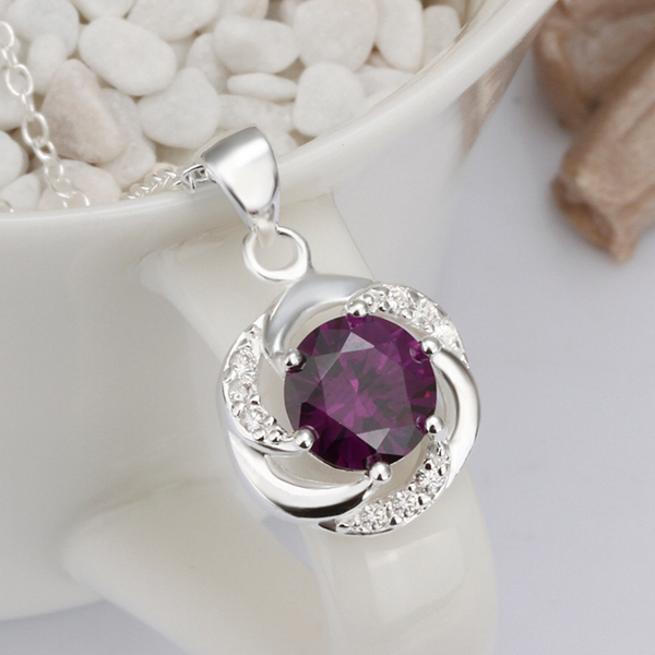 925sterling silver jewelry fine fashion loverly wave round bring purple crystal stone pendant for women girls wedding jewerly