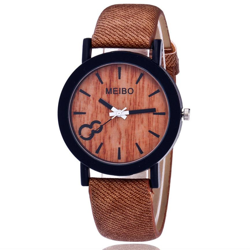 Watch Clock Modeling Gift Quartz Fashion Festival Wooden Color Casual Simple