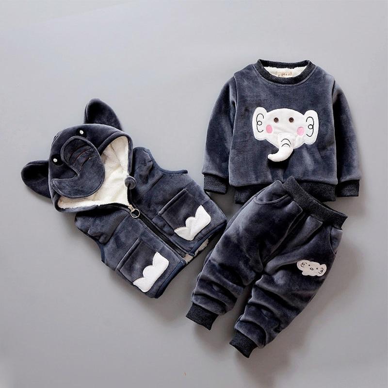 Enfant en bas âge garçon vêtements ensembles hiver 3 pièces 2018 velours chaud enfants fille vêtements ensemble belle Animal à capuche tenues costume neige porter Z85