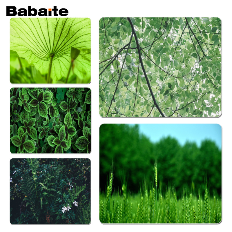 Babaite New Arrivals Green leaves mouse pad gamer play mats Size for 180x220x2mm and 250x290x2mm Small Mousepad