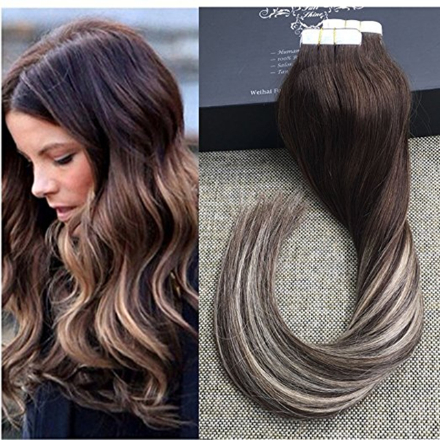 Full Shine Human Tape In Hair Extensions Ombre Hair Extensions Color