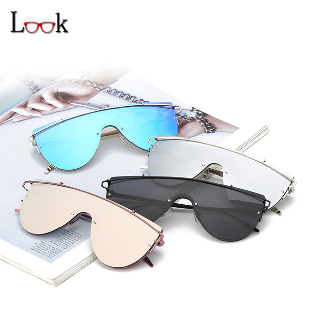 New Style 2017 Mirror Sunglasses Women Men Vintage Brand Designer Luxury Siamesed Big Steampunk Sun Glasses Lentes De Sol Mujer