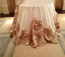 Fancy elegant round flower wedding tablecloths /table linens for party decoration