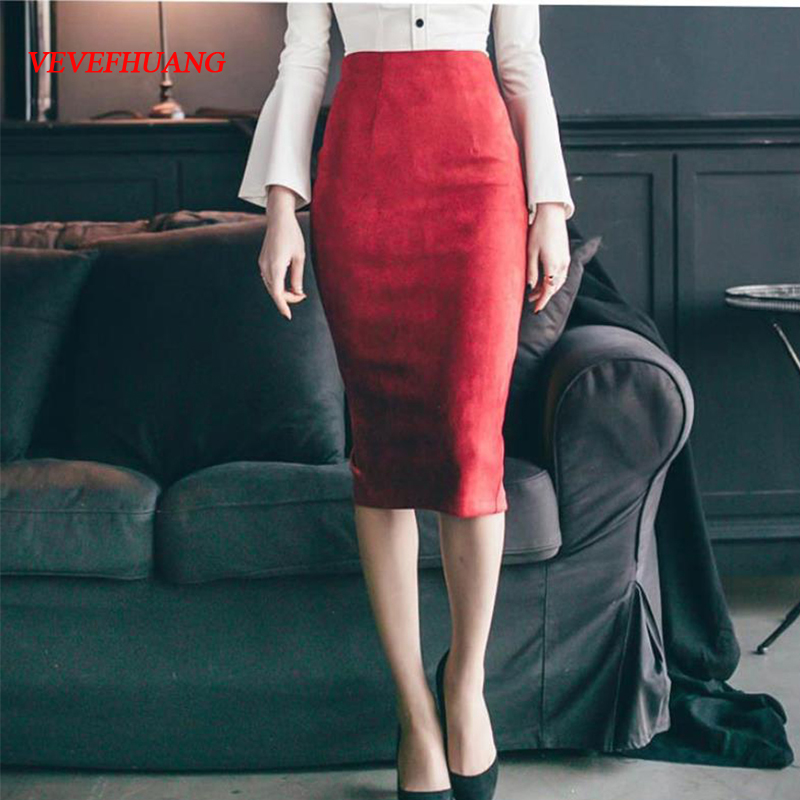 VEVEFHUANG Fashion Women Suede Solid Color Pencil Skirt Female Spring Autumn Basic High Waist Bodycon Split Knee Length Skirts