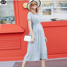 Купить с кэшбэком Summer Maternity Dresses High Quality Clothes For Pregnant Women Short Sleeve Long Dress Large Mount Of Loose Pregnancy Dress