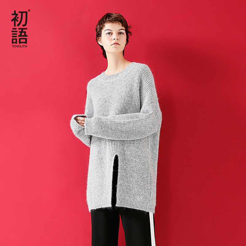 Toyouth Long Sleeve Open Slit Rabbit Oversized Pullover Women O Neck Sweater Pullover 2019 Medium Long