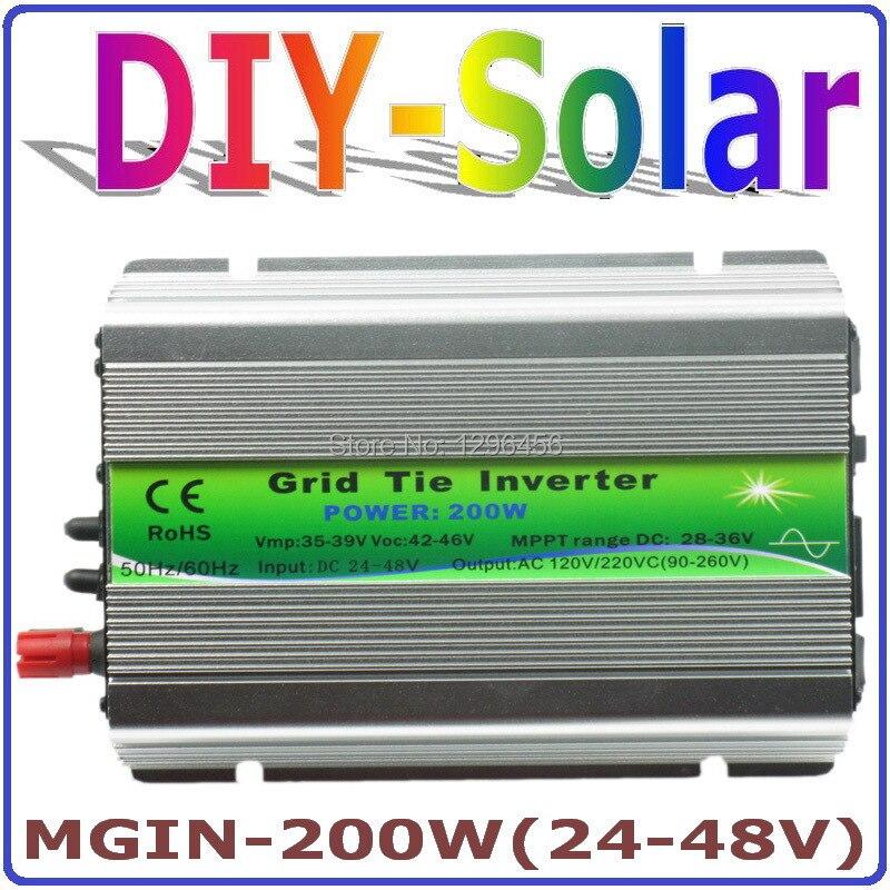Бесплатная доставка, 200 Вт сетки галстук инвертора, 24V 48VDC, е байка 36В панель, со слежением за максимальной точкой мощности, функция, инвертор с чистым синусом 90 V 260 V выход, микро на галстук инвертора сетки галстук инвертора