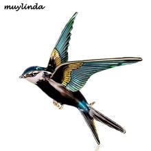 Muylinda птица на эмали булавки для женщин броши с ласточкой и булавки ювелирные изделия шарф клип птицы Стразы для банкета булавки ювелирные изделия