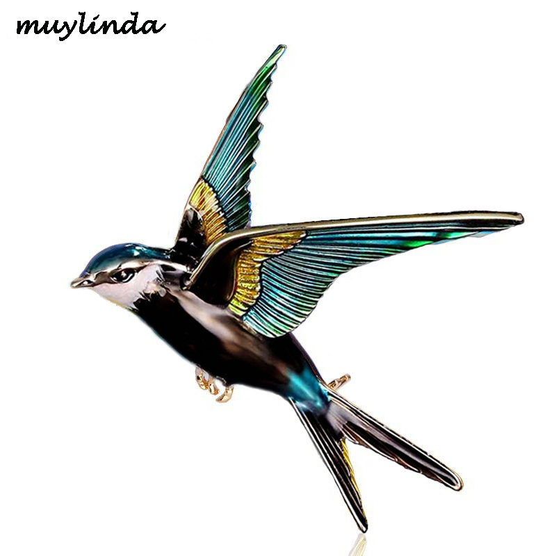 Muylinda Bird Enamel Pin Women Swallow Brooches And Pins Jewelry Scarf Clip Birds Rhinestone Banquet Pin Jewelry
