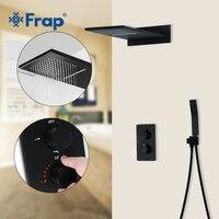 Frap Shower Faucets black bathroom shower set faucet thermostatic mixer tap for bath shower mixer faucet tap shower panel Y23513