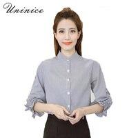 UNINICE Women Beading Blouse Shirt Women Spring Korean Style Cotton Bow Puff Sleeve Blue Office Sweet