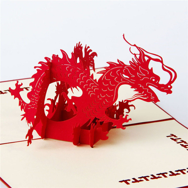 3D Laser Cut Handmade Chinese Traditional Fly Dragon Paper