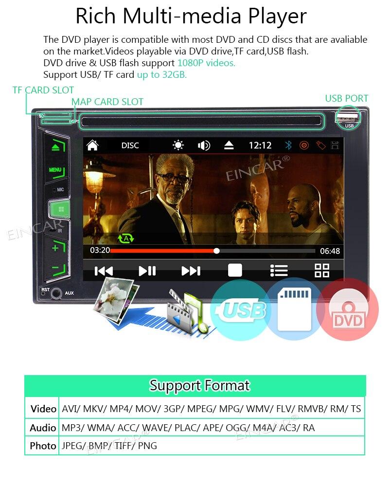 Bluetooth áudio estéreo do carro in dash fm aux entrada receptor sd usb mp3 player de rádio universal 2din dvd cd player controle remoto - 3