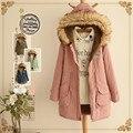 Теплое зимнее пальто, мода Японский меховой воротник хлопка ватник, зима женский куртка, женщины парки новый стиль с капюшоном TT1504