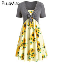 PlusMiss Plus Size 5XL Sleeveless Sunflower Floral Printed Dress With Front Knot Top XXXXL XXXL Summer Spaghetti Strap Sundress plus knot front striped cami with shorts