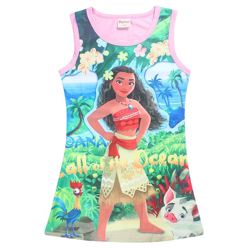 2017 Summer Moana Dresses for Girls Princess Birthday Party Dress Children Elsa Anna trolls Costume Kids Clothes Vestido vaiana (4)