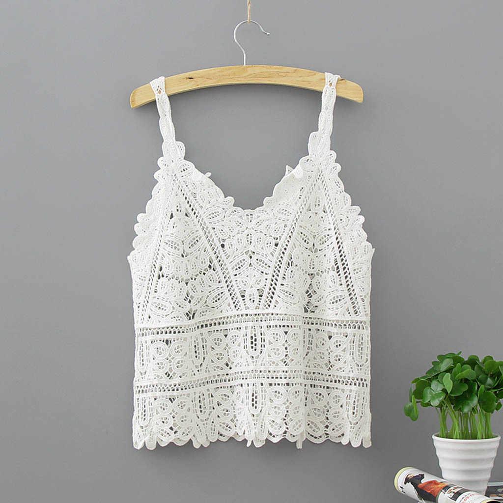 2020 女性の夏のショートベストセクシーな中空アウト V ネック無地白編みトップスシャツ # YL5