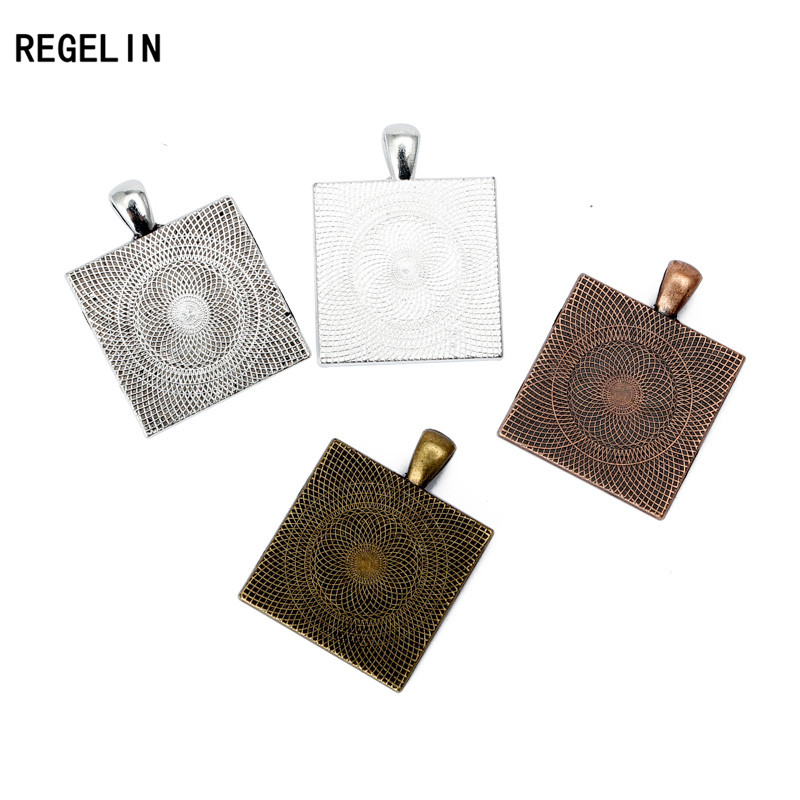 REGELIN NEW Square Pendant Settings Cabochons Bases Bezel Trays Fit 25mm Glass Cabochon Cameo DIY Necklace Findings 10pcslot