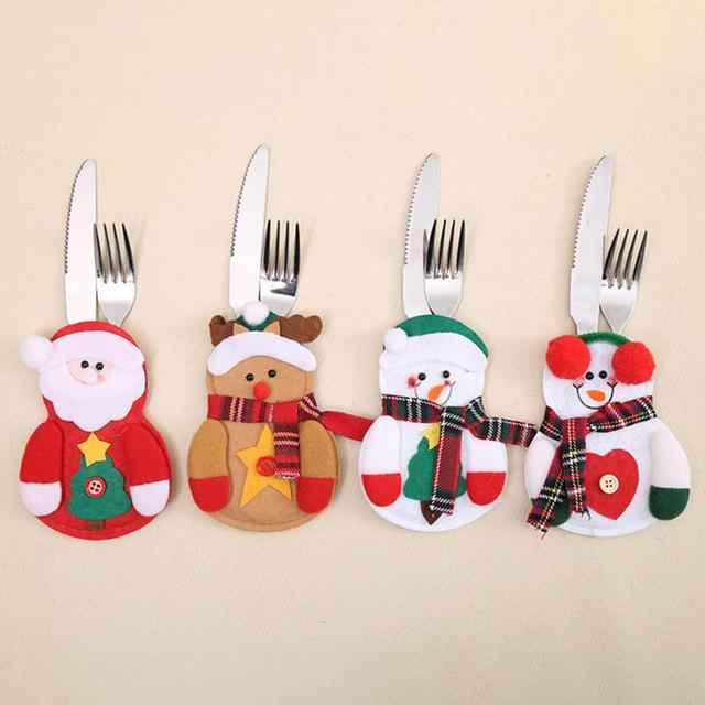 Christmas Decorations for Home Party Table Cutlery Bags Snowman Santa Claus Tableware Holder Pocket Navidad Ornaments