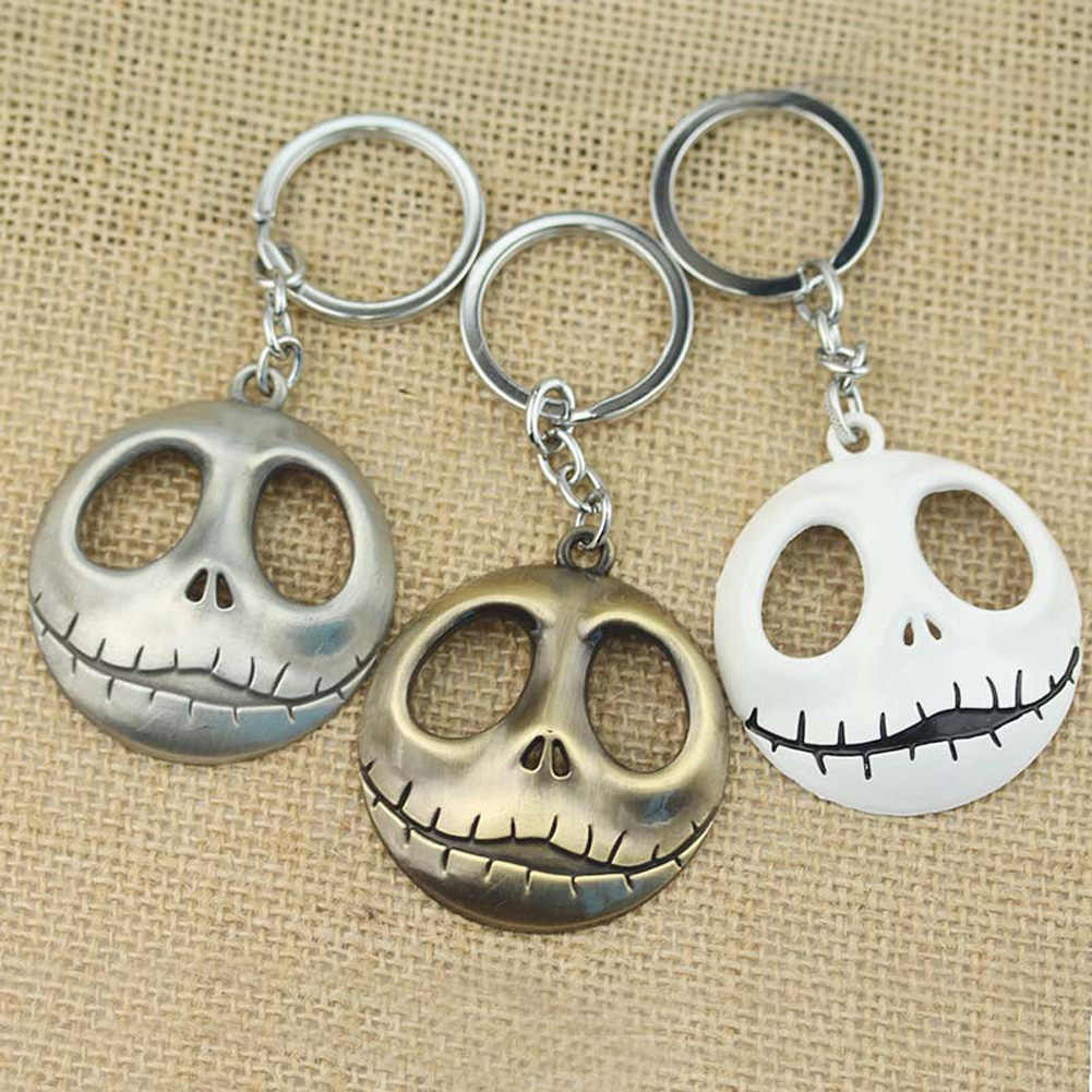 Movie Jewelry Skull Head Skellington Men Key Chain The Nightmare Before Christmas Pumpkin King Santa Jack Keychain