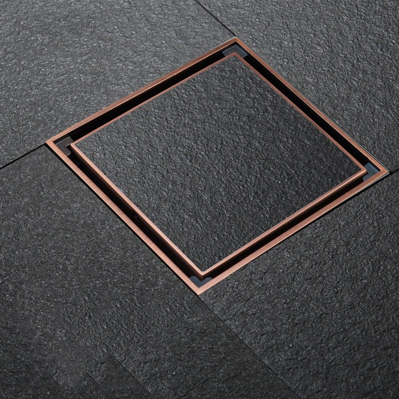 Antique Red bronze Square 120120mm best Brass Floor Drain