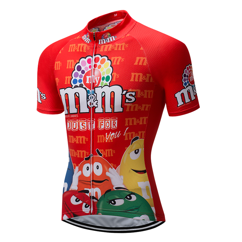 Summer 2018 Red M&Ms Men's Cycling Jersey Funny Mtb Mountain Bike Clothing Bicycle Wear Clothes Short Maillot Anti-sweat Uniform