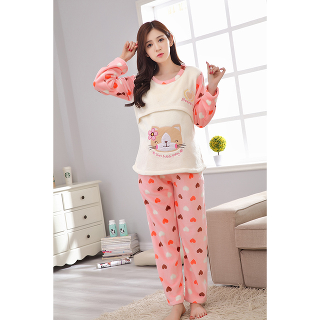 21f109132b4 Long Sleeve Winter Cute Animal Cartoon Thickening Flannel Breast-Feeding  Night Wear Maternity Clothing Pregnancy Pajamas HOT!!!