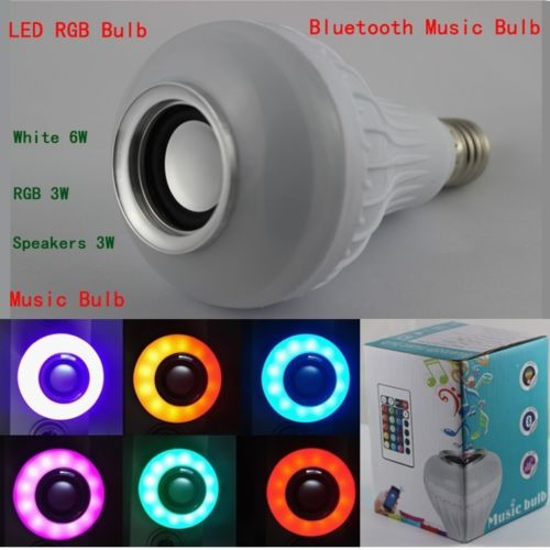 Wireless 12W Power E27 LED rgb Bluetooth Smart Speaker Bulb Light Lamp Music Playing for DJ Disco Party Gathering
