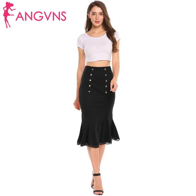 ANGVNS Party Slim Mermaid Pencil Midi Skirt Womens Summer Vintage High Waist Elastic Work Office Women Hip Fishtail Skirt Button 2