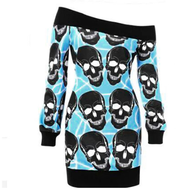 Long Sleeve Skull Print Sweater Women Plus Size Off Shoulder Knit Tops