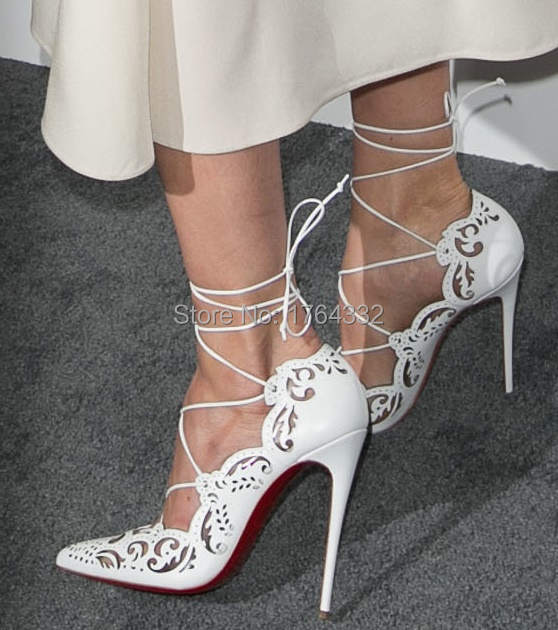 c95393fed6 ON SALE! 2016 Rihanna Lace Up Women Pumps ,Sexy Laser Cut Outs High ...