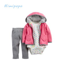 HIMIPOPO Fleece Baby Sets for Winter Hooded Cardigan Set Long Sleeve Cute Outwear Sets for Boy Girl 3pcs Coat+Bodysuit+Pant