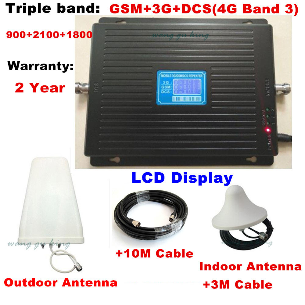 Newest HOT GSM 900 DCS 1800 WCDMA 2100 Tri-Band Booster 2G 3G 4G LTE 1800 65dB Mobile Phone Signal Amplifier Cell Phone Repeater