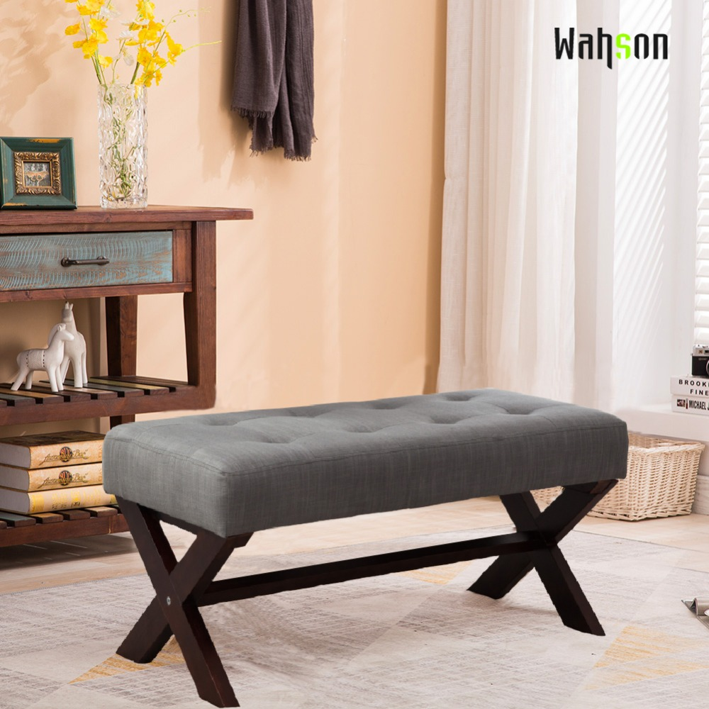Bedroom Bench Home Goods Rustic Bedroom Furniture Sets Bedroom Dresser Accessories Bedroom Furniture Tv Stand: Wahson Linen Upholstered Ottoman Bench Seat, Large