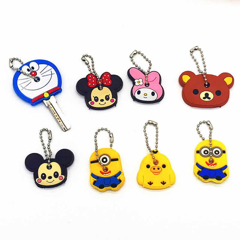 1Pcs น่ารักการ์ตูน Mickey Minnie Melody Bear ซิลิโคนสำหรับผู้หญิง/Man Key Key Caps Key แหวนผู้ถือของขวัญเด็ก