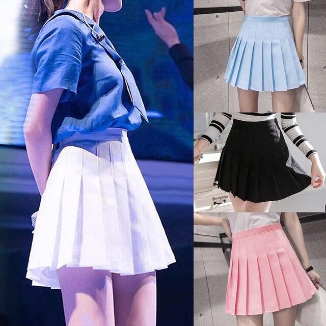 0fde9ac171 2018 Novo Chegada Jovem Plissadas Mini Saias de Cintura Alta Verão Sul  Coreano Estudante Saia Azul