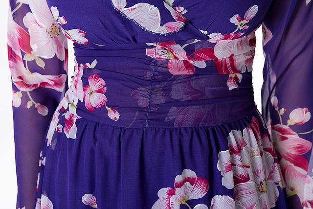 VITIANA 2017 Women Summer Beach Chiffon Clothing Long Sleeve Blue Print Loose Party Casual Dress Plus Size 5XL 6XL With Belt