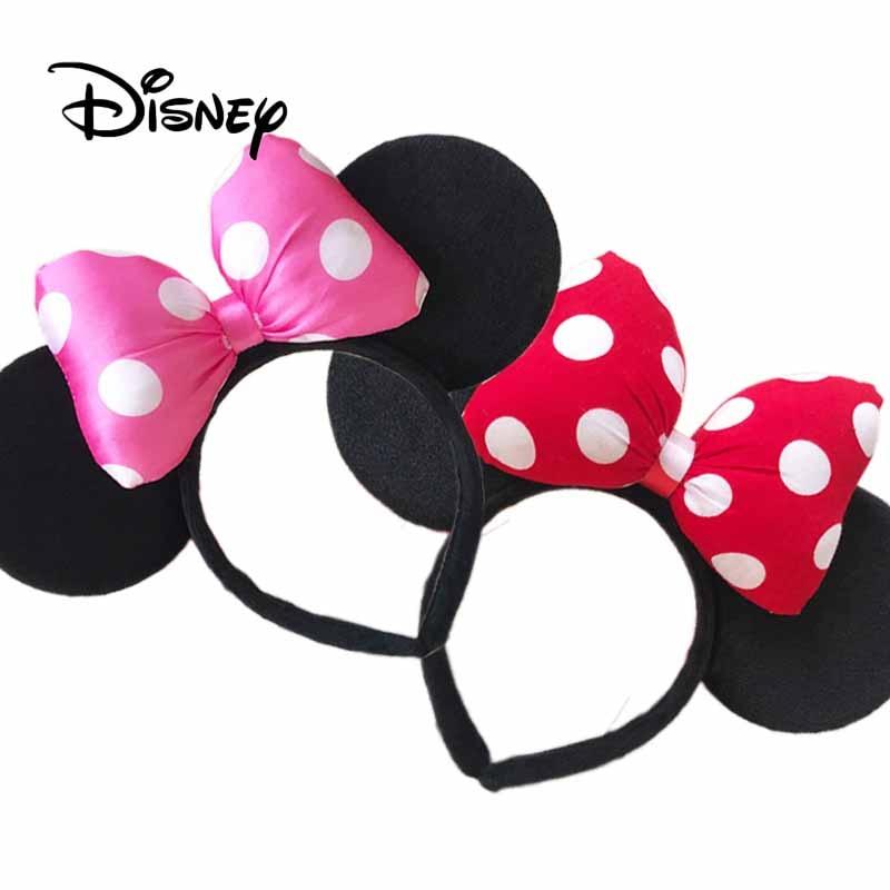 Disney Mickey Minnie Pretend Play Fashion Decorative Toy Girl Headband Headdress Bow Child Cartoon Sequin Ear Birthday Gifts