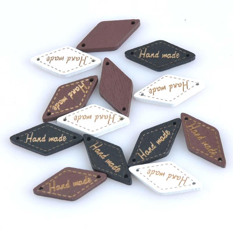 Ручной кнопки для бренд бирка декоративные деревянные Botones для Костюмы Скрапбукинг для швейного рукоделия украшения Botone 13×27 мм MT0916