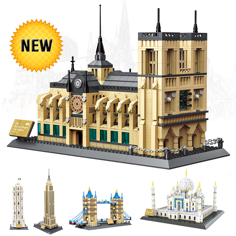 World Great Architecture Large 1977pc Building Blocks Construction City Educational Toy Bricks Technic Toys for Children Kids world great architecture large wange building blocks set city buildings interesting home decor kids toy bricks compatible lepin