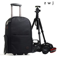 Professional Camera Trolley Backpack Bag Photography Rolling Luggage Travel Bag