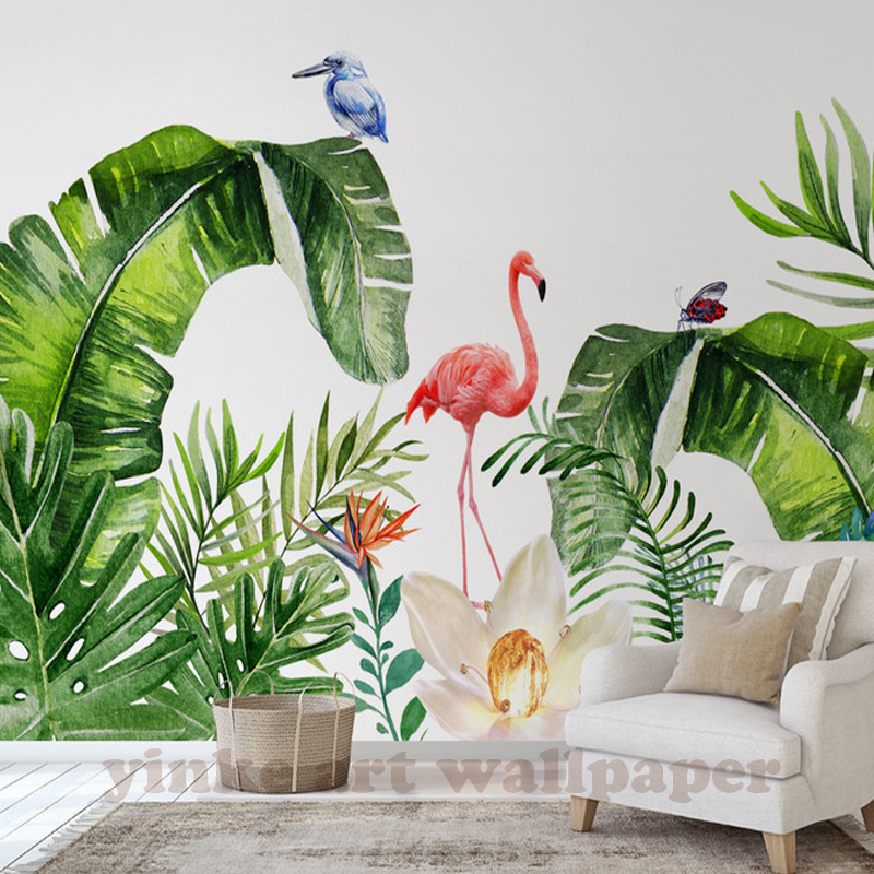 Custom Photo Wallpaper Murals 3D Northern Europe trppical plant flamingo backdrop Mural Wall Home Interior Decoration Wall Paper interior design