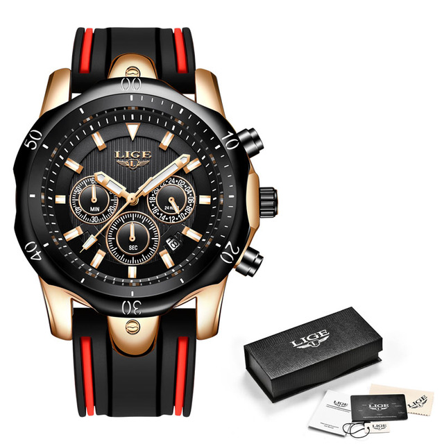 LIGE Men Sport Watch Chronograph Silicone Strap Quartz Army Military Watches Clock Men Top Brand Luxury Male Relogio Masculino | Fotoflaco.net