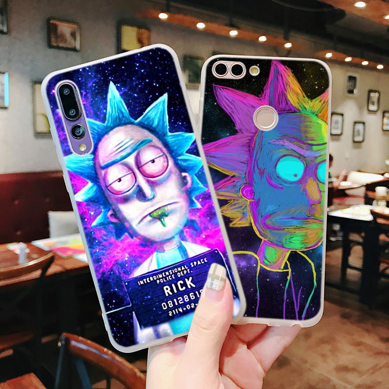 Silicone Phone Case Rick and Morty Cartoon for Huawei P Smart 2019 Plus P30 P20 P10 P9 P8 Lite Mate 20 10 Pro Lite Nova 3i Cover in Fitted Cases from Cellphones Telecommunications
